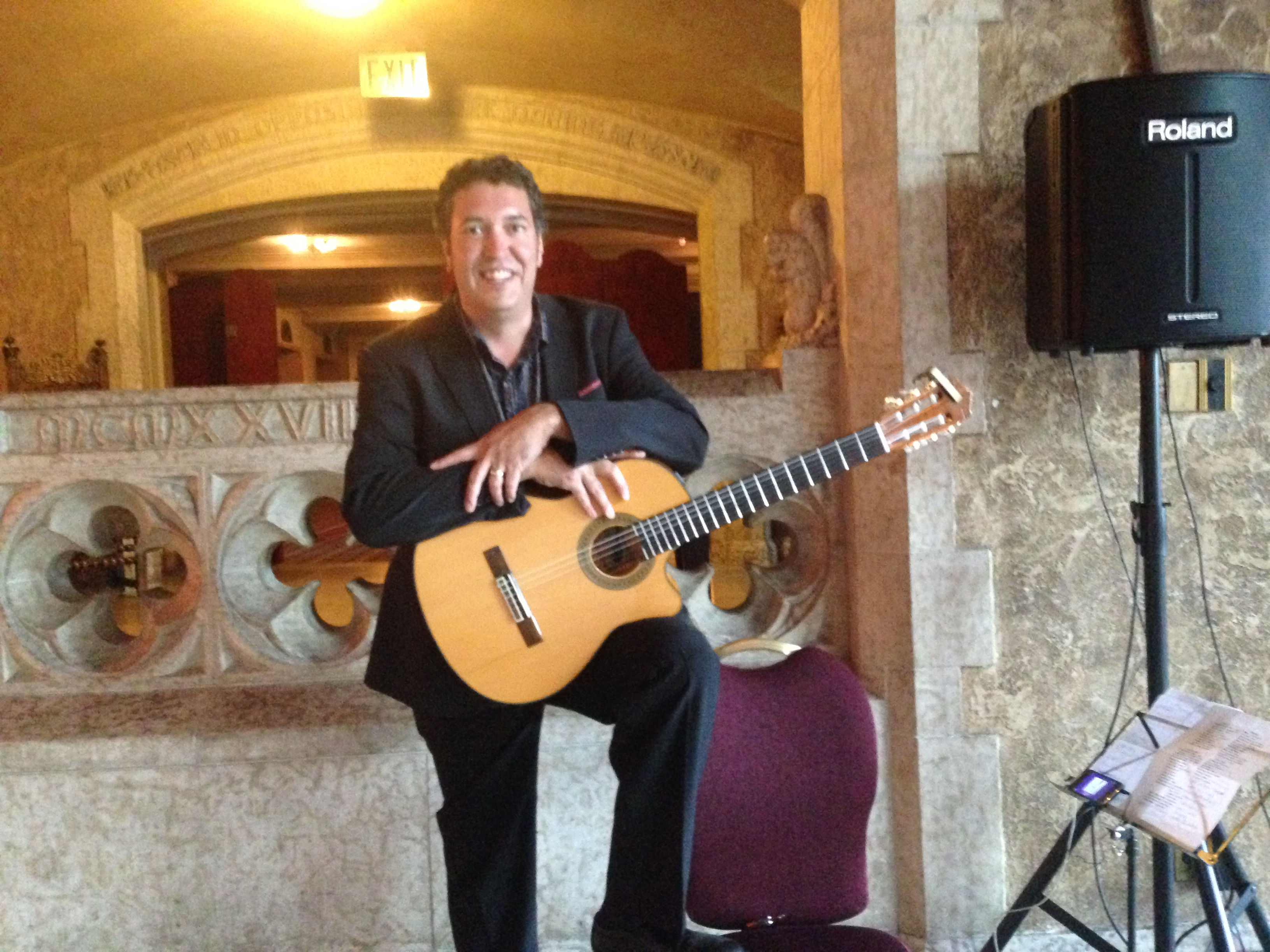 Guitarist Andrew Ibanez performs at the Banff Springs Hotel, Banff, AB.